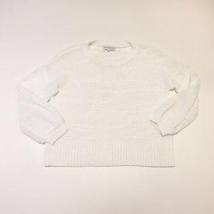 White Warren Womens S Ribbon Sweater Loose Knit